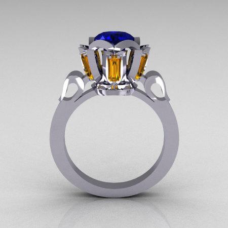 Modern Edwardian 10K White Gold 1.0 Carat Blue Yellow Sapphire Baguette Cocktail Wedding Ring R305-10WGBYS-1