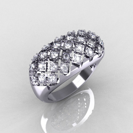 Modern Antique 18K White Gold 0.58 CTW Round Diamond Designer Ring R126-18WGD-1