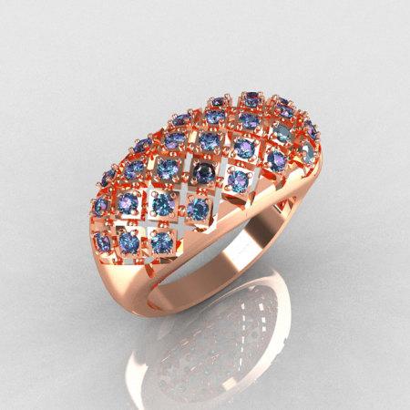 Modern Antique 14K Pink Gold 0.58 CTW Round Alexandrite Designer Ring R126-14PGAL-1