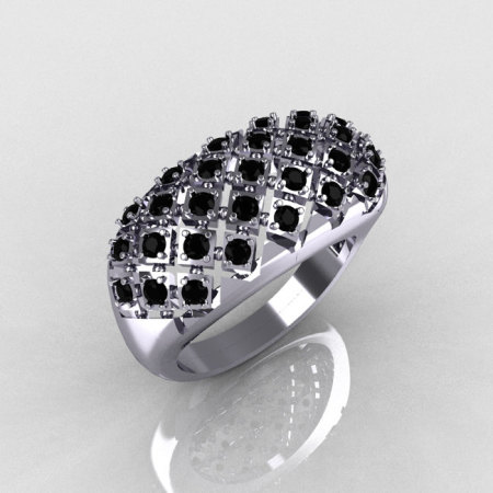 Modern Antique 10K White Gold 0.58 CTW Round Black Diamond Designer Ring R126-10WGBD-1