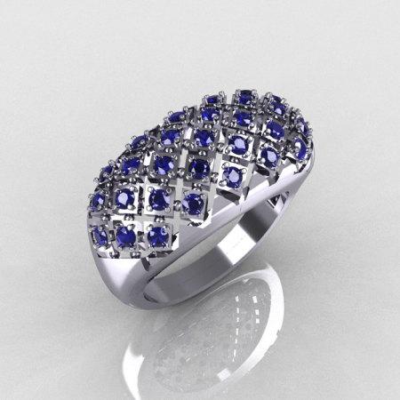 Modern Antique 14K White Gold 0.58 CTW Round Blue Sapphire Designer Ring R126-14WGBS-1