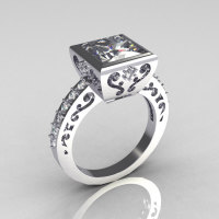 Classic Bridal 10K White Gold 2.5 Carat Square Princess White Sapphire Wedding Ring R309-10WGWS-1