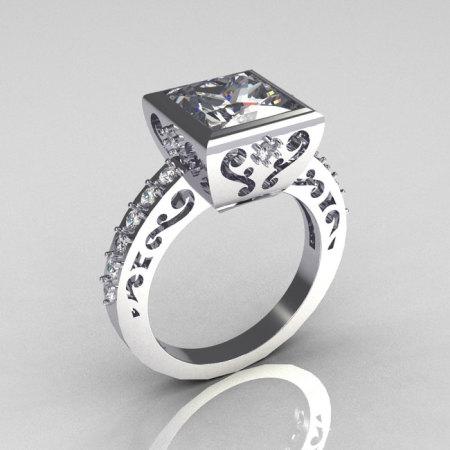 Classic Bridal 10K White Gold 2.5 Carat Square Princess White Sapphire Wedding Ring R309-10WGWS-1