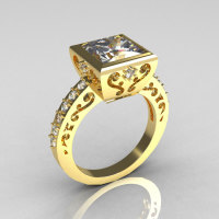 Classic Bridal 10K Yellow Gold 2.5 Carat Square Princess White Sapphire Wedding Ring R309-10YGWS-1