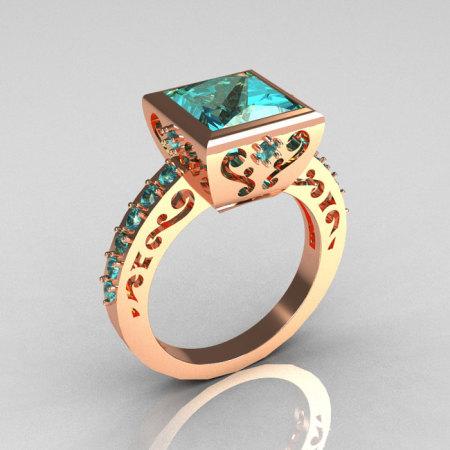 Classic Bridal 14K Pink Gold 2.5 Carat Square Princess Aquamarine Ring R309-14PGAQ-1
