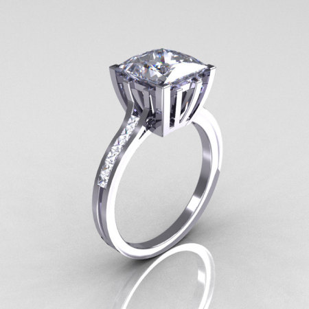Modern Italian 14K White Gold 2.0 Carat Princess White Sapphire Channel Diamond Solitaire Ring R312-14KWGWSD-1