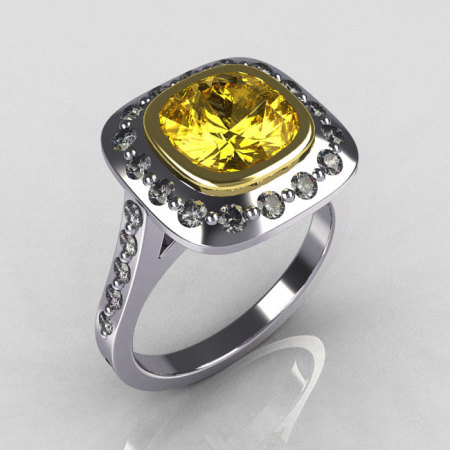 Classic Legacy Style Two Tone 14K White Yellow Gold 2.0 Carat Cushion Cut Yellow Sapphire Engagement Ring R60-14KWYGDYS-1