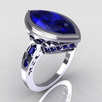 Modern Antique 14K White 5.0 Carat Marquise Blue Sapphire Bridal Engagement Ring R133-14WGBS-1