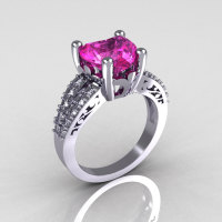 Modern Vintage 18K White Gold 3.0 Carat Heart Pink Sapphire Diamond Solitaire Ring R134-18KWGDPS-1