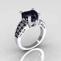 Modern French Bridal 10K White Gold 3.0 Carat Heart Black Diamond Solitaire Engagement Ring R134-10WGBDD-1