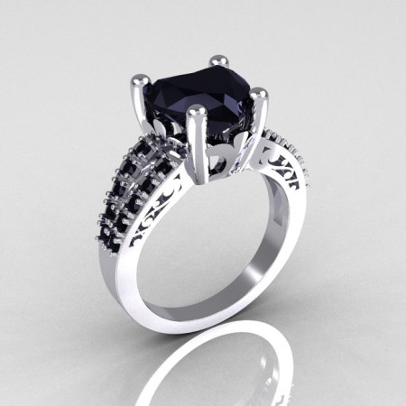 Modern French Bridal 10K White Gold 3.0 Carat Heart Black Diamond Solitaire Engagement Ring R134-10WGBDD-1
