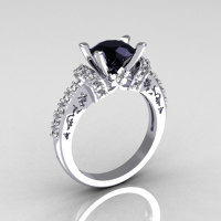 Modern Armenian Classic 14K White Gold 1.5 Carat Black and White Diamond Solitaire Wedding Ring R137-14WGDBL-1