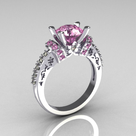 Modern Armenian Classic 14K White Gold 1.5 Carat Light Pink Sapphire Diamond Solitaire Wedding Ring R137-14WGDLPS-1
