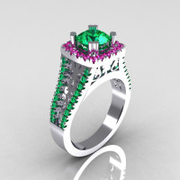 Modern Armenian Vintage 14K White Gold 1.0 Carat Emerald Pink Sapphire Engagement Ring R137-14WGEMPS-1