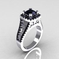 Modern Armenian Vintage 950 Platinum 1.0 Carat Black Diamond Engagement Ring R137-PLATBD-1