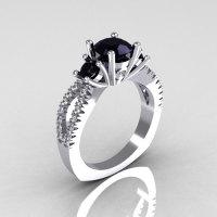 Modern French Bridal 14K White Gold Three Stone 1.0 Carat Black Diamond Accent White Diamond Engagement Ring R140-14WGDBD-1