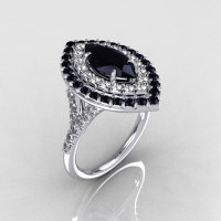 Soleste Style Bridal 14K White Gold 1.0 Carat Marquise Black and White Diamond Engagement Ring R117-14WGDBDD-1