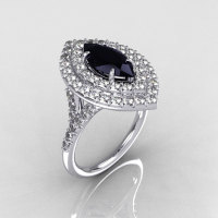 Soleste Style Bridal 18K White Gold 1.0 Carat Marquise Black and White Diamond Engagement Ring R117-18WGDBLD-1