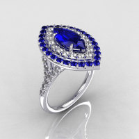 Soleste Style Bridal 14K White Gold 1.0 Carat Marquise Blue Sapphire Diamond Engagement Ring R117-14WGDBS-1