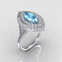 Soleste Style Bridal 14K White Gold 1.0 Carat Marquise Aquamarine Diamond Engagement Ring R117-14WGDAQ-1