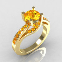 Modern Bridal 10K Yellow Gold 1.0 Carat Yellow Citrine Solitaire Ring R145-10YGYCI-1