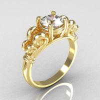 Modern Antique 10K Yellow Gold 1.0 Carat Round White Sapphire Designer Solitaire Ring R141-10YGWS-1