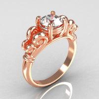 Modern Antique 14K Pink Gold 1.0 Carat Round White Sapphire Designer Solitaire Ring R141-14PGWS-1