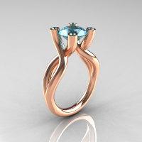 Modern 10K Rose Gold 1.5 Carat Aquamarine Solitaire Ring AR110-10KRGAQQ-1