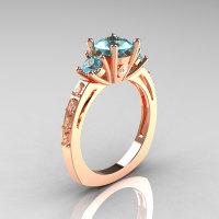 Classic French Bridal 14K Rose Gold Three Stone 1.0 Carat Aquamarine Diamond Engagement Ring AR112-14KRGDAQ-1