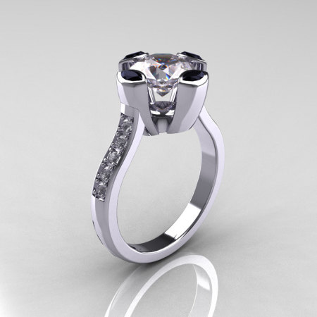 Modern Classic 10K White Gold 1.5 Carat CZ Marquise Black Diamond Solitaire Ring AR121-10WGDCZBLL-1