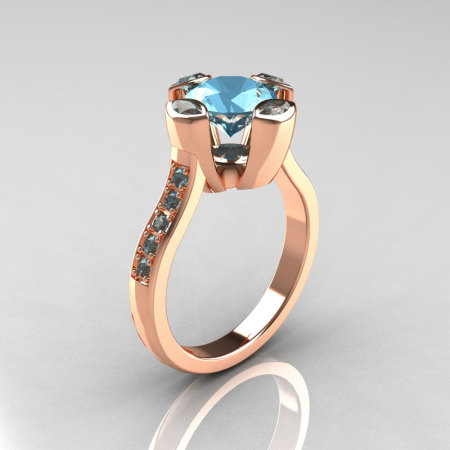 Modern Classic 10K Rose Gold 1.5 Carat Blue Topaz Solitaire Wedding Ring AR121-10RGBTT-1