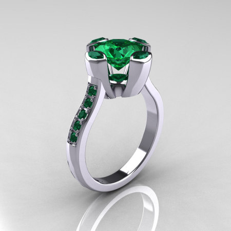 Modern Classic 14K White Gold 1.5 Carat Round Marquise Emerald Solitaire Ring AR121-14WGEMM-1