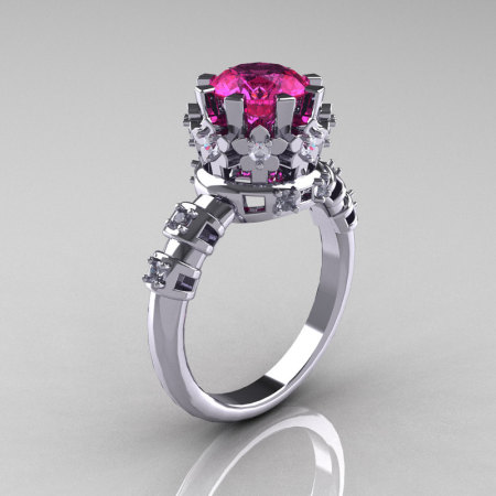 Modern Vintage 18K White Gold 1.5 Carat Pink Sapphire Diamond Classic Armenian Bridal Ring AR105-18KWGDPS-1