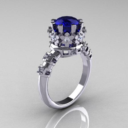 Modern Vintage 950 Platinum 1.5 Carat Blue Sapphire Diamond Classic Armenian Ring AR105-PLATDBS-1