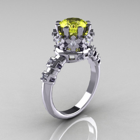 Modern Vintage 18K White Gold 1.5 Carat Yellow White Diamond Classic Armenian Ring AR105-18KWGDYD-1
