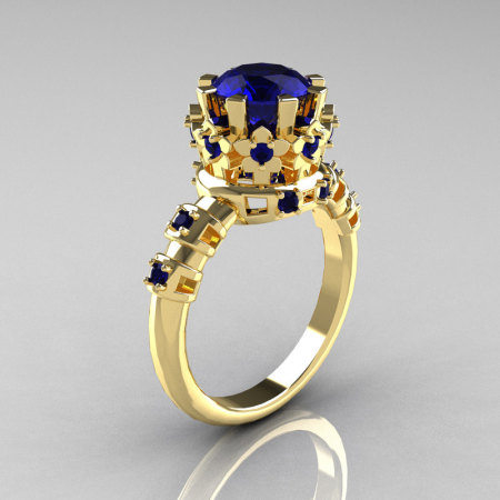 Modern Vintage 18K Yellow Gold 1.5 Carat London Blue Sapphire Classic Ring AR105-18KYGLBSS-1