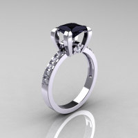 Classic 10K White Gold 1.0 Carat Princess Black and White Diamond Solitaire Engagement Ring AR125-10KWGDBD-1