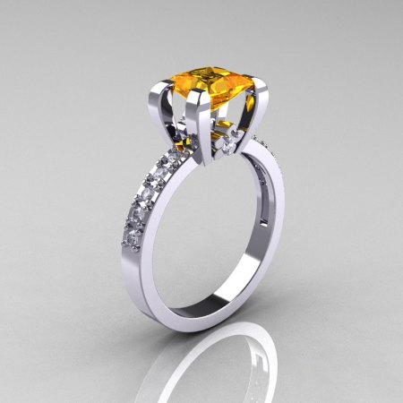 Classic 14K White Gold 1.0 Carat Princess Yellow Citrine Diamond Solitaire Engagement Ring AR125-14WGDCI-1