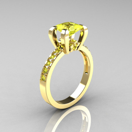 Classic 10K Yellow Gold 1.0 Carat Princess Yellow Diamond Solitaire Engagement Ring AR125-10YGYDD-1