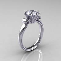 Modern Antique 10K White Gold 1.5 Carat CZ Solitaire Engagement Ring AR127-10WGCZ-1