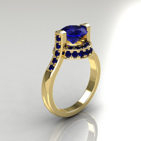 Italian Bridal 18K Yellow Gold 1.5 Carat Blue Sapphire Wedding Ring AR119-18YGBSS-1