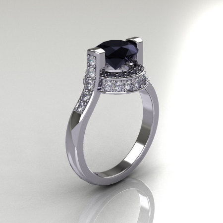 Italian Bridal 14K White Gold 1.5 Carat Black and White Diamond Wedding Ring AR119-14WGDBD-1
