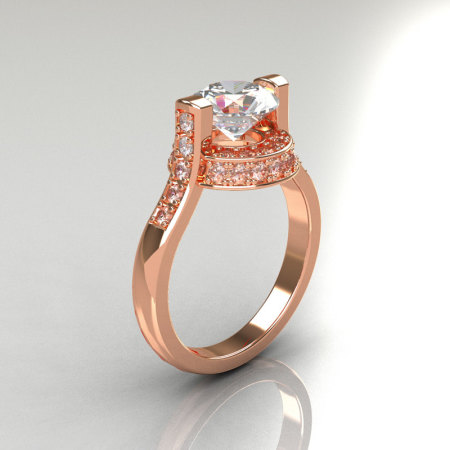 Italian Bridal 10K Pink Gold 1.5 Carat CZ Diamond Wedding Ring AR119-10PGDCZ-1
