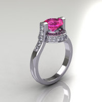 Italian Bridal 18K White Gold 1.5 Carat Pink Sapphire Diamond Wedding Ring AR119-18WGDPS-1