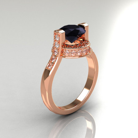 Italian Bridal 14K Pink Gold 1.5 Carat Black and White Diamond Wedding Ring AR119-14PGDBD-1