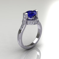 Italian Bridal 10K White Gold 1.5 Carat Blue Sapphire Diamond Wedding Ring AR119-10WGDBS-1