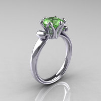 Modern Antique 14K White Gold 1.5 Carat Peridot Solitaire Engagement Ring AR127-14WGPE-1