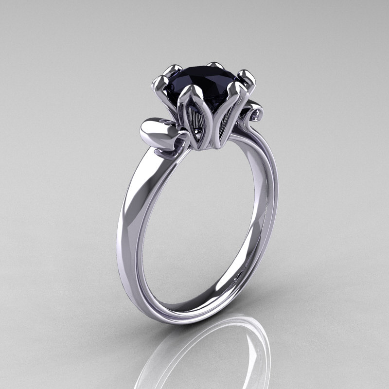 modern antique 14k white gold 1 5 carat black onyx solitaire - Black Onyx Wedding Ring