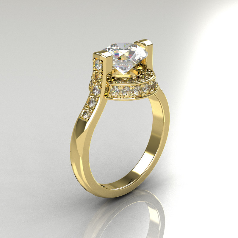 Italian Bridal 10K Yellow Gold 15 Carat CZ Diamond Wedding Ring