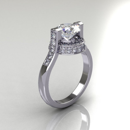 Italian Bridal 14K White Gold 1.5 Carat Cubic Zirconia Diamond Wedding Ring AR119-14WGDCZ-1